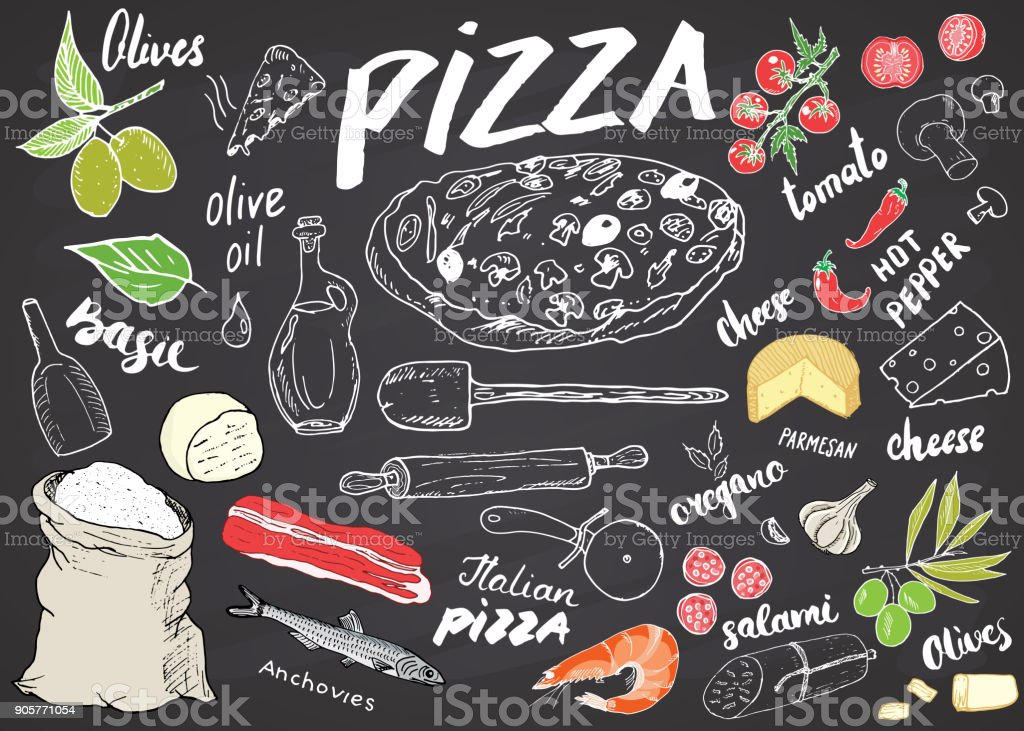 Pizza menu hand drawn sketch set. Pizza preparation design template with cheese, olives, salami, mushrooms, tomatoes, flour and other ingredients. vector illustration on chalkboard background vector art illustration