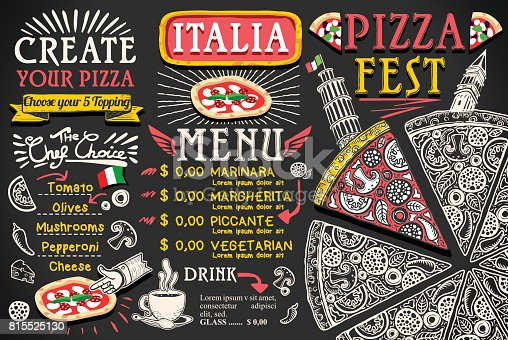 istock Pizza Menu Italian Food Vector Design 815525130