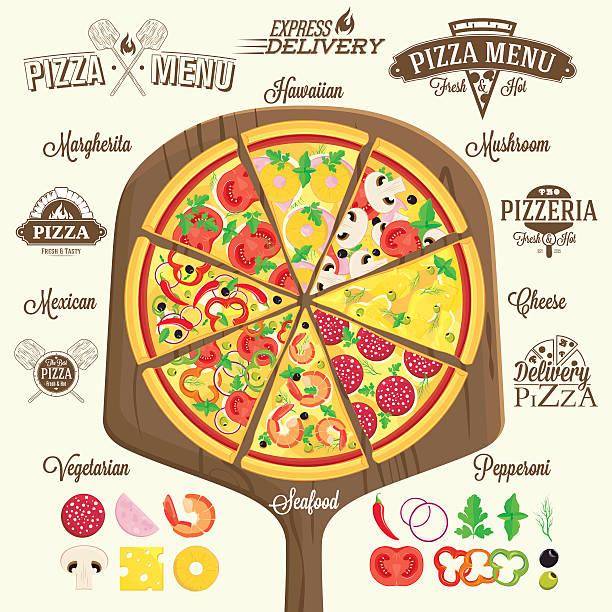 pizza menü, etiketten und design-elemente - pizzeria stock-grafiken, -clipart, -cartoons und -symbole