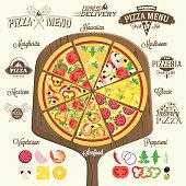 Pizza menu, labels and design elements