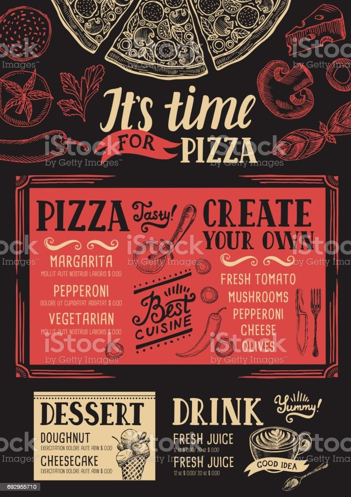Pizzaria-restaurante menu, modelo de comida. - ilustração de arte em vetor