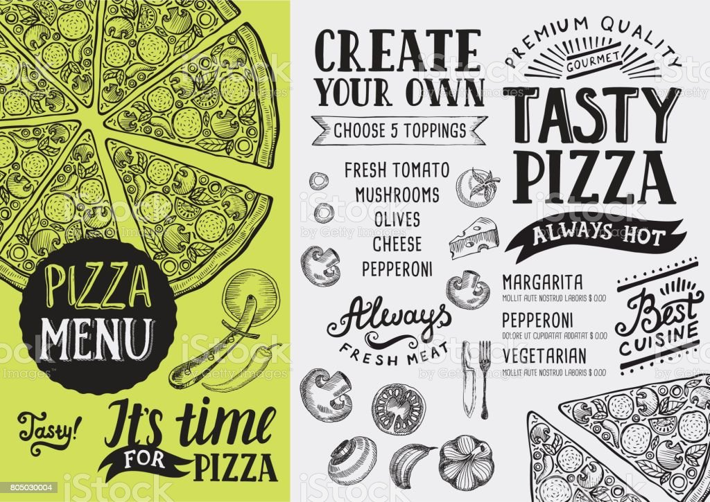 Pizza menu restaurant, food template. vector art illustration
