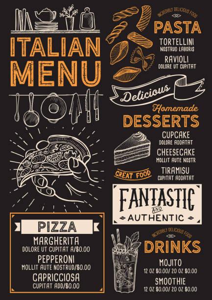 Speisekarte Pizzeria, Lebensmittel-Vorlage. – Vektorgrafik