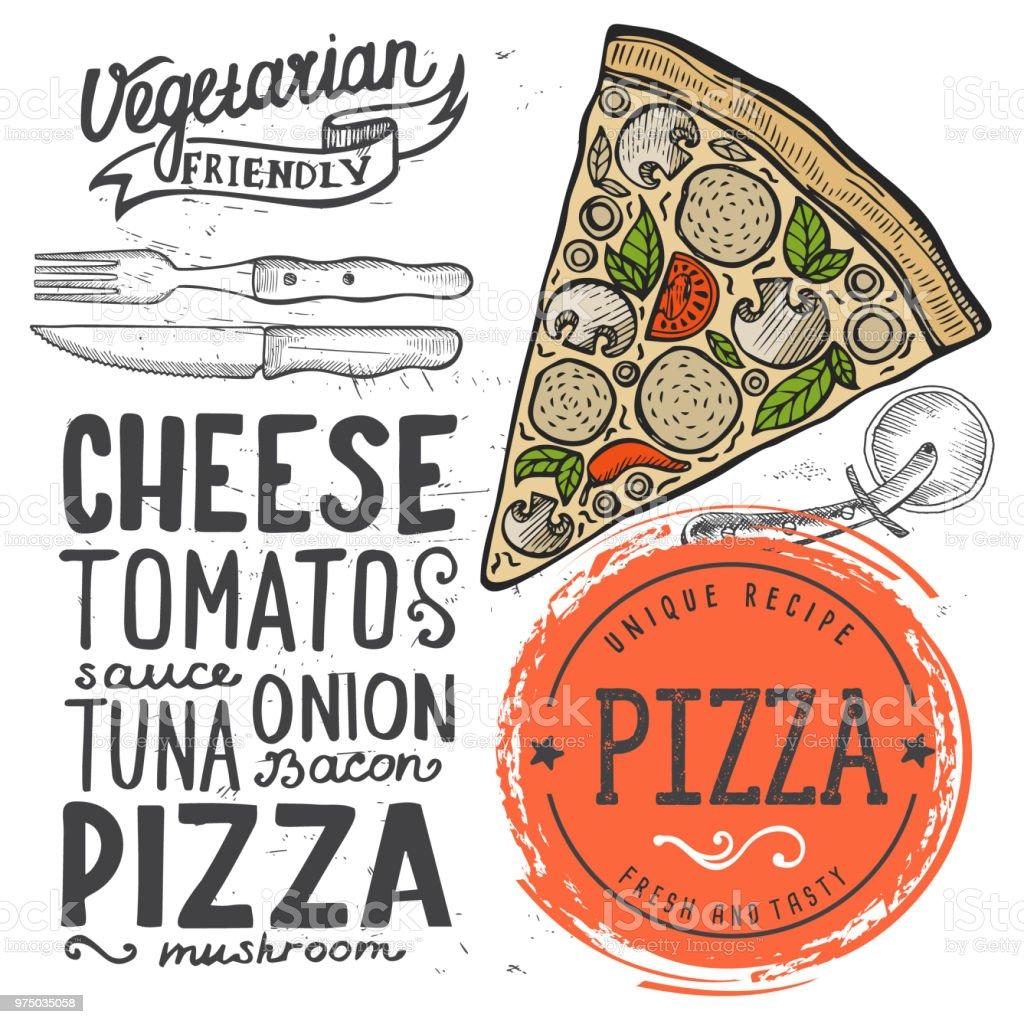 pizza menu restaurant food template stock vector art more images