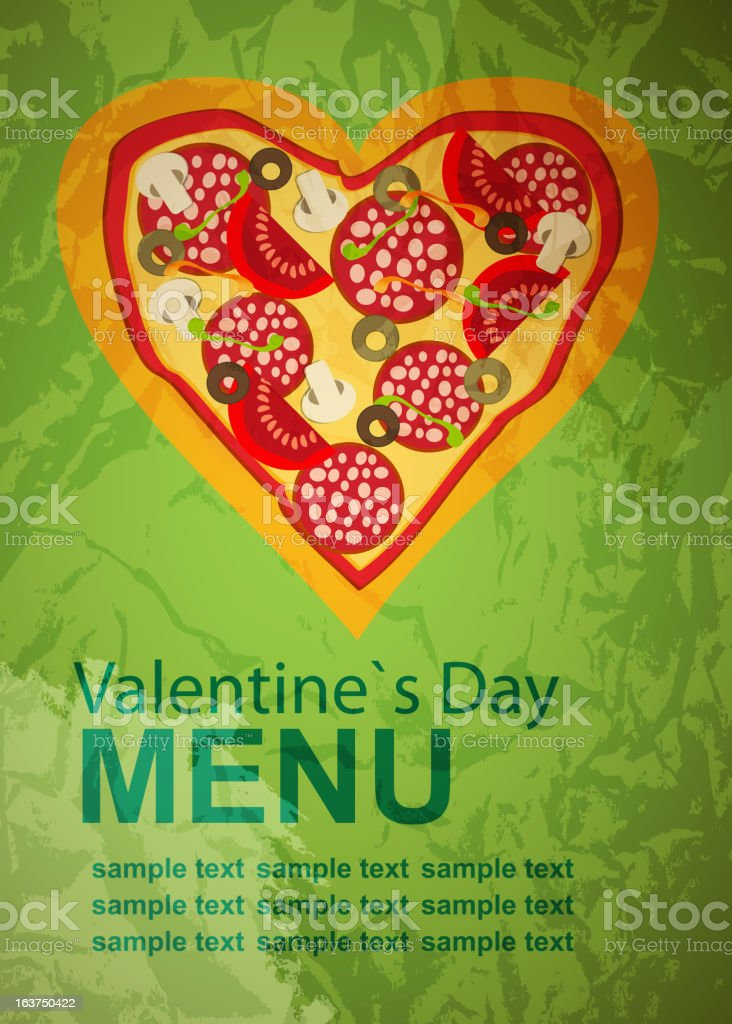 Pizza Menu Template on Valentine`s Day, vector illustration royalty-free stock vector art