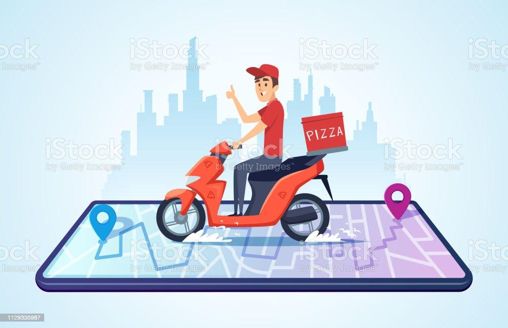 피자 오토바이 배달 합니다. 음식 배달 자전거 빠른 납품 벡터 개념 운전으로 도시 풍경 - 로열티 프리 감시 벡터 아트