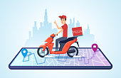 Pizza motorbike delivery. Urban landscape with food courier driving bike fast delivery vector concept