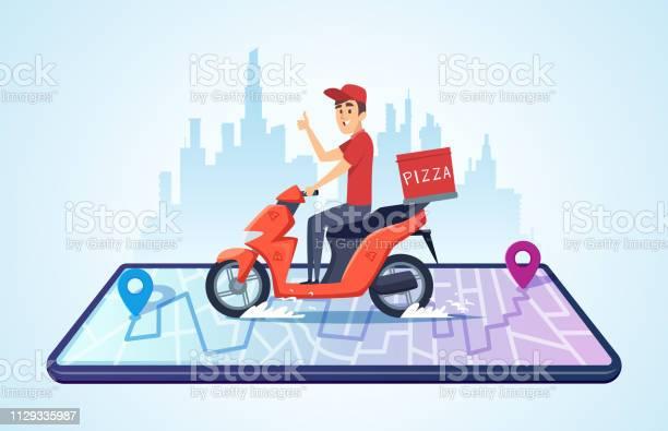 피자 오토바이 배달 합니다 음식 배달 자전거 빠른 납품 벡터 개념 운전으로 도시 풍경 감시에 대한 스톡 벡터 아트 및 기타 이미지