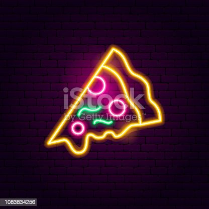 Pizza Neon Sign. Vector Illustration of Food Promotion.