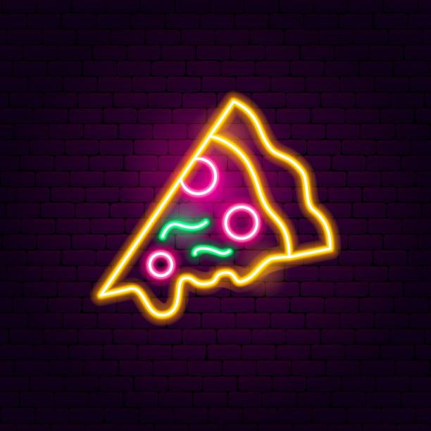 ilustraciones, imágenes clip art, dibujos animados e iconos de stock de pizza de neón - pizza