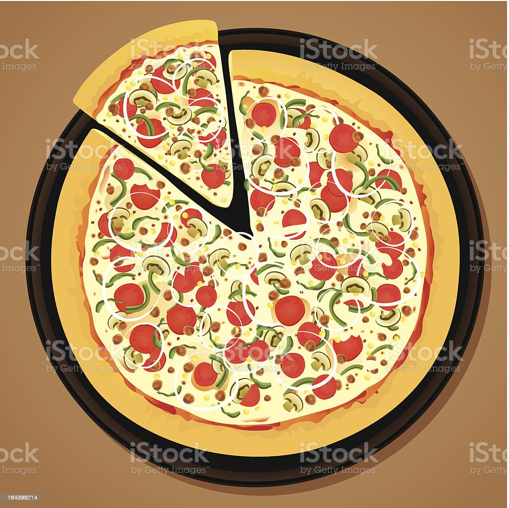 pizza on a pan royalty-free stock vector art
