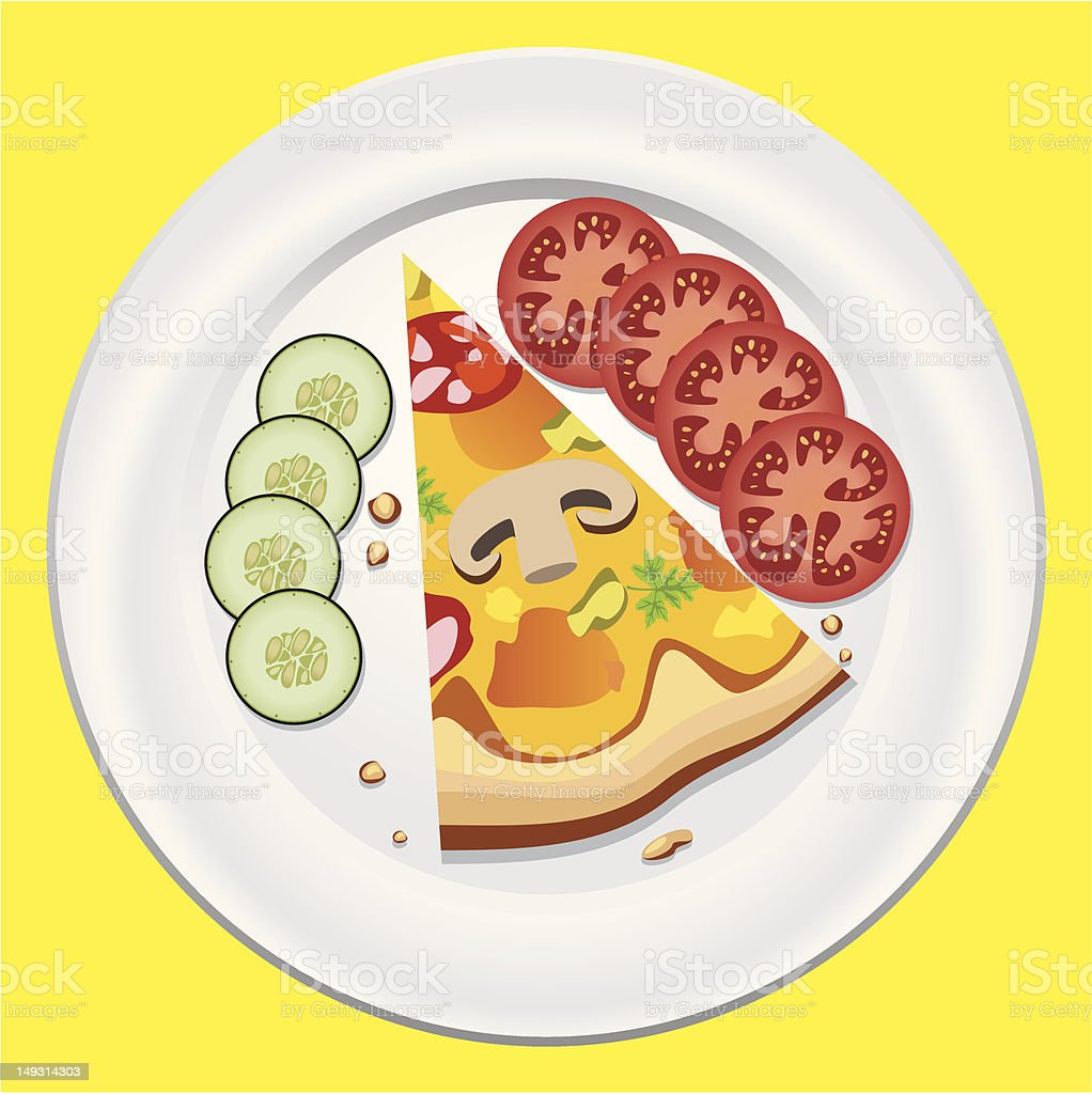pizza on a plate vector art illustration