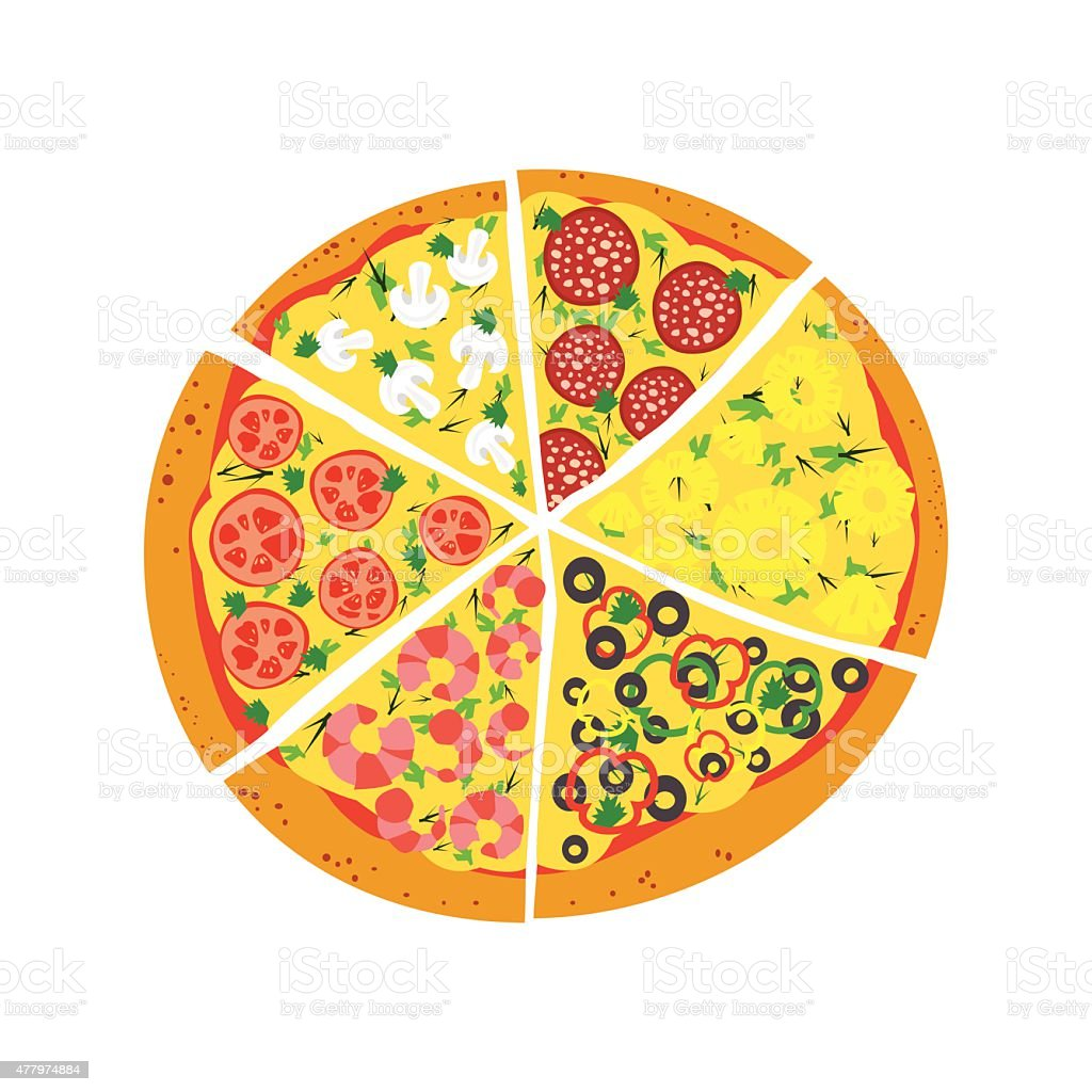 Pizza on white background vector art illustration