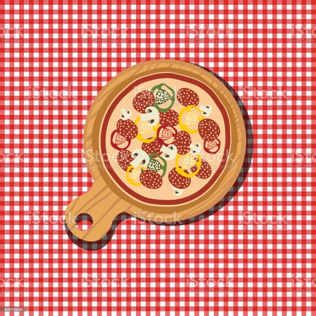 Pizza on wooden board. Tasty and fresh Italian fast food. Flat vector illustration. vector art illustration