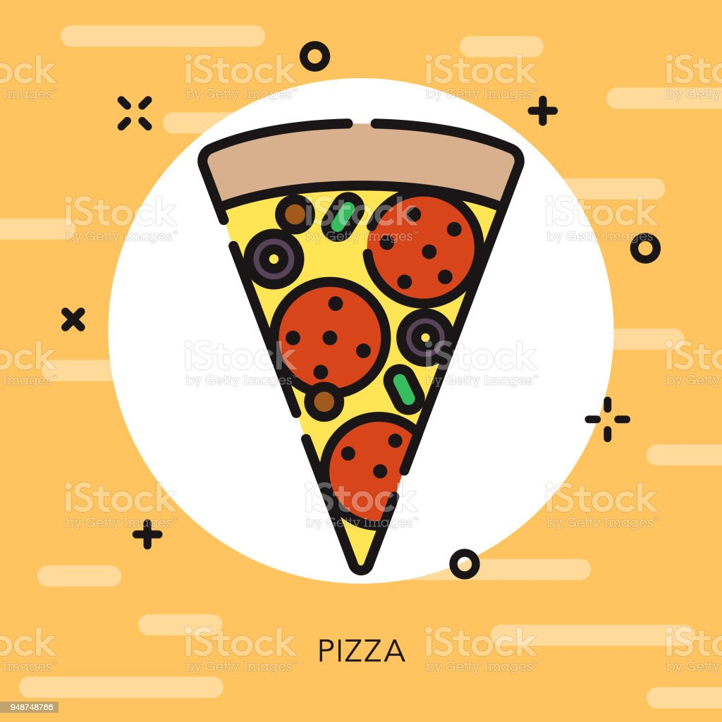 Pizza Open Outline Fast Food Icon vector art illustration