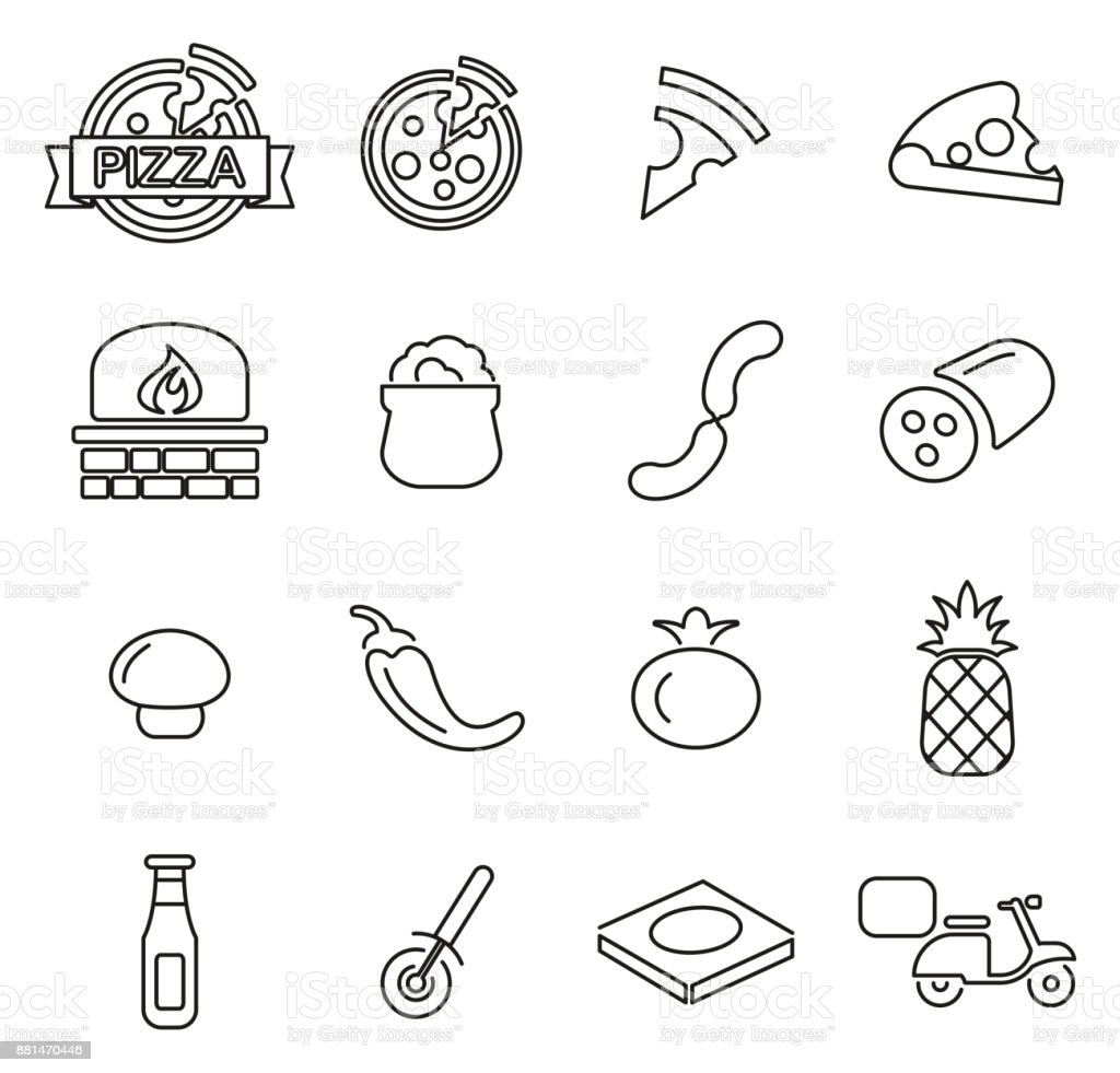 Pizza or Pizza Ingredients Icons Thin Line Vector Illustration Set vector art illustration