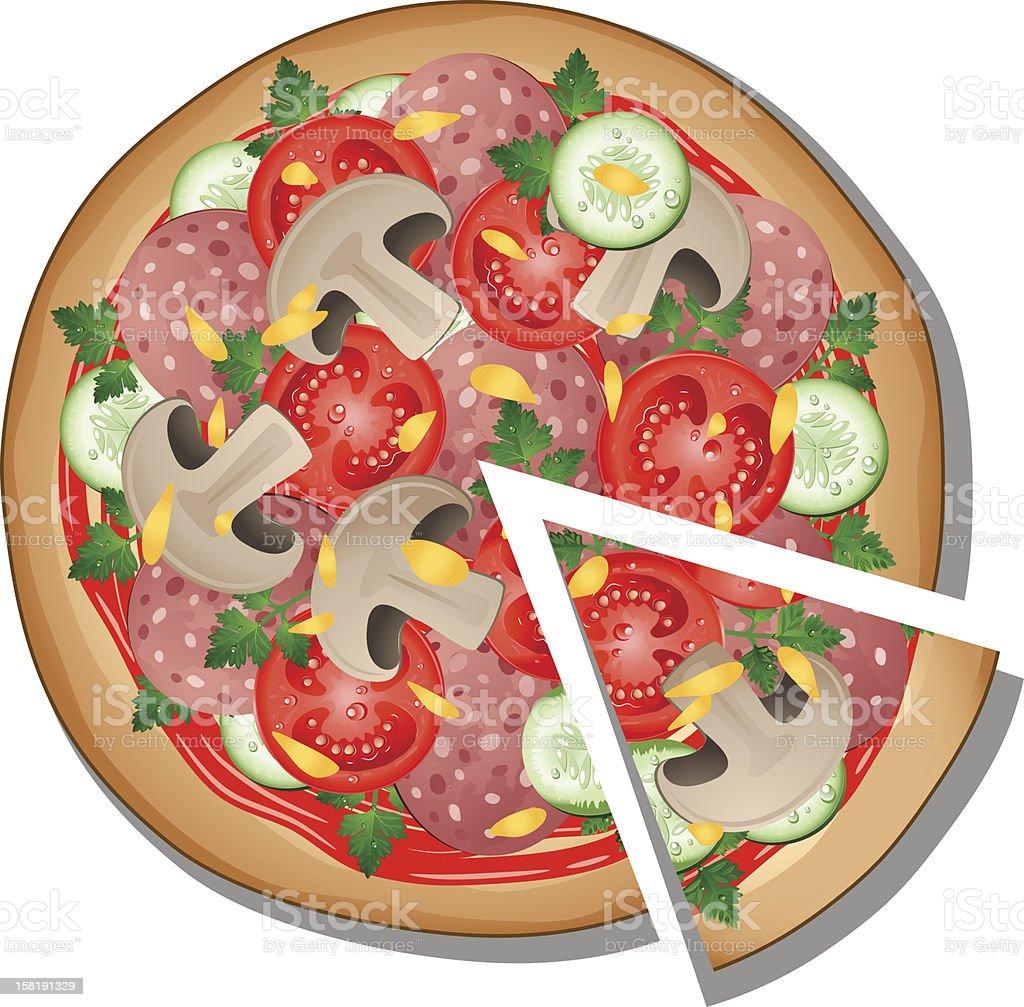 Pizza over white vector art illustration