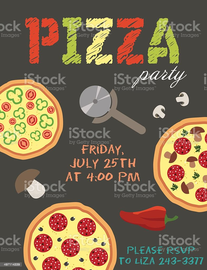 Pizza party card vector art illustration