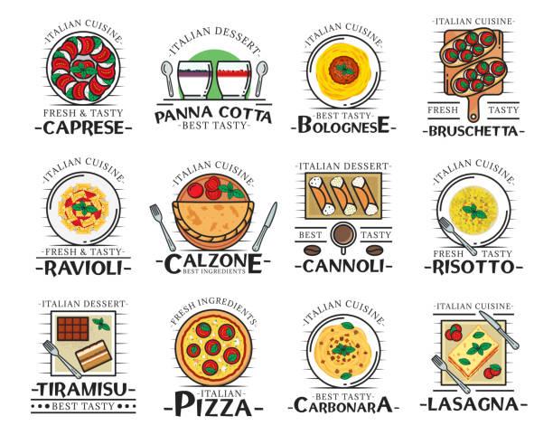illustrations, cliparts, dessins animés et icônes de pizza, pâtes, spaghettis et lasagnes. nourriture italienne - risotto