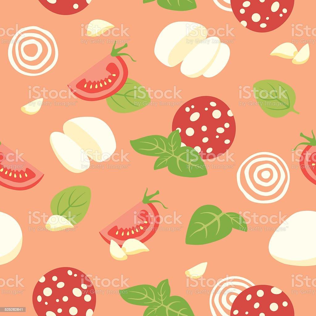 Pizza Pepperoni Ingredients vector art illustration