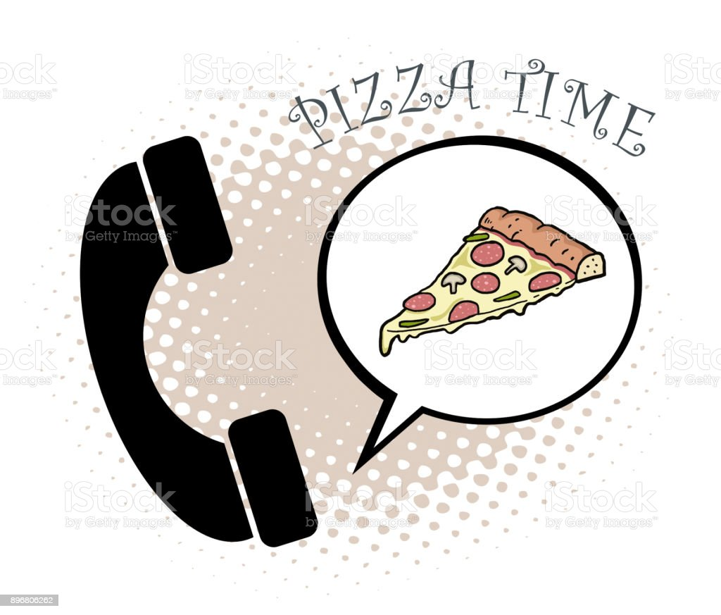 Pizza phone order illustration vector art illustration