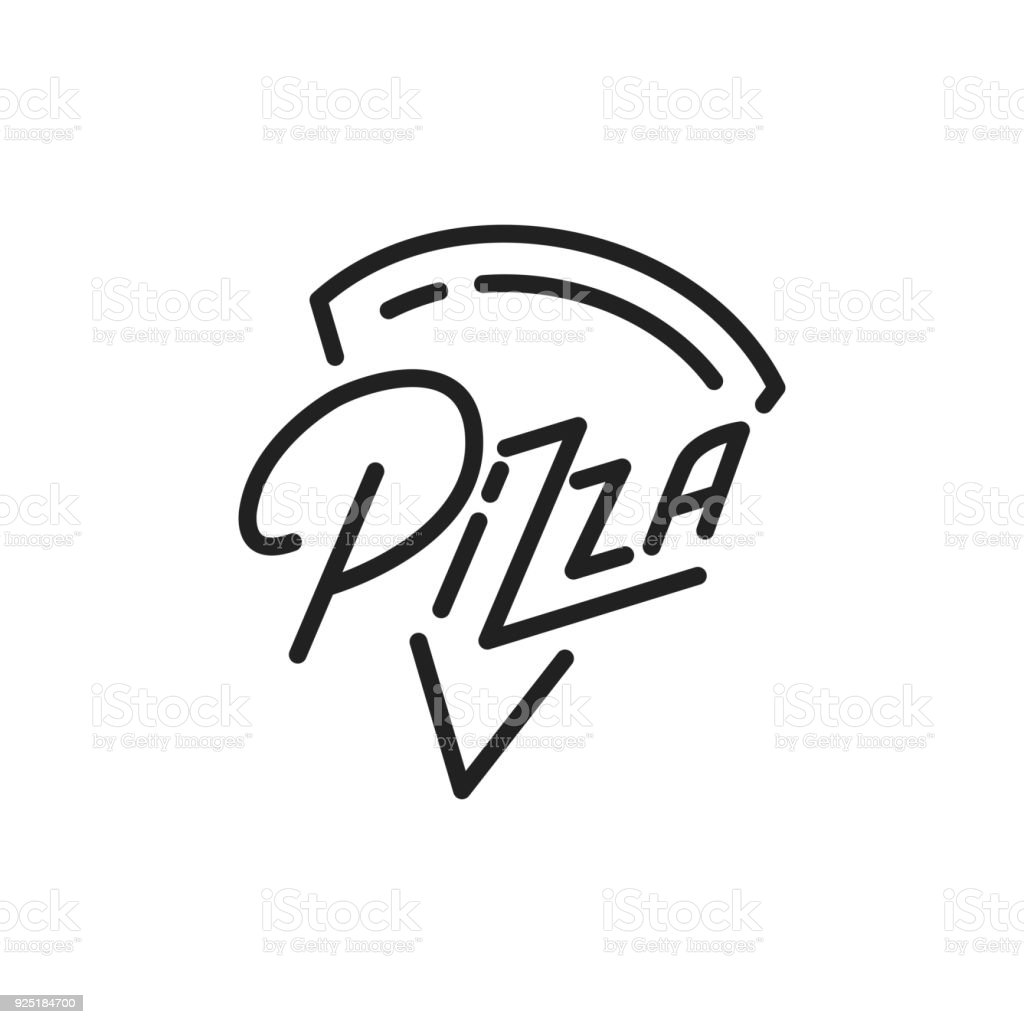 Pizza. Pizza lettering illustration. Pizza label badge emblem vector art illustration