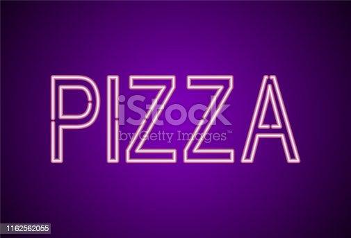 istock Pizza. Pizza neon sign. Neon glowing signboard banner design 1162562055