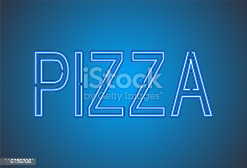 istock Pizza. Pizza neon sign. Neon glowing signboard banner design 1162562061