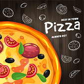Pizza Pizzeria Italian template flyer baner with ingredients and text on wooden background
