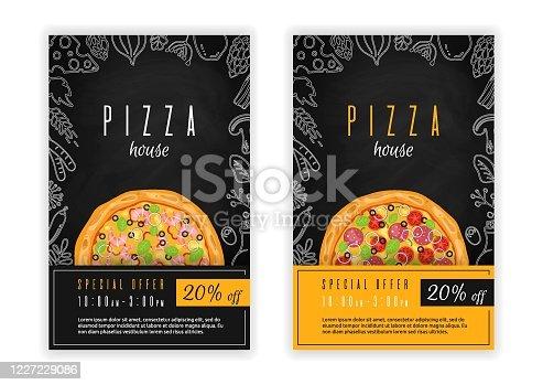 Pizza poster, flyer, template or menu card design. Vector illustration