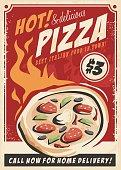 Pizza promotional poster for Italian restaurant.