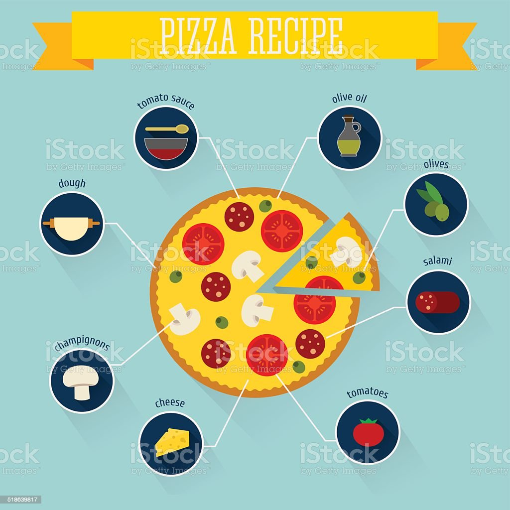 Pizza recipe vector art illustration