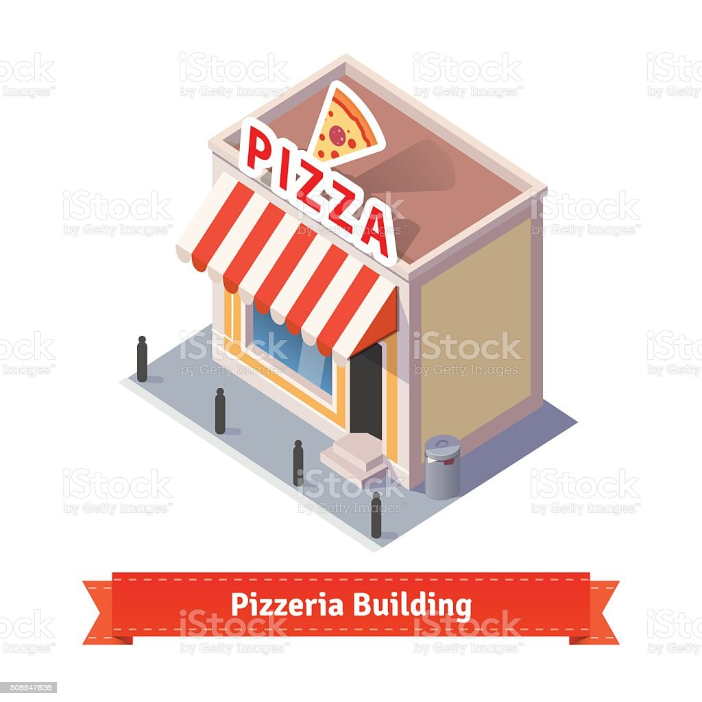 Pizza restaurant and shop building vector art illustration