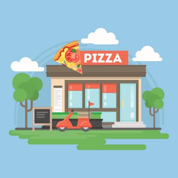 pizza-restaurant-gebäude. - pizzeria stock-grafiken, -clipart, -cartoons und -symbole