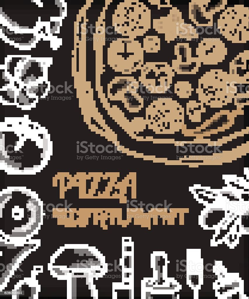 pizza restaurant menu front page template with white hand drawn