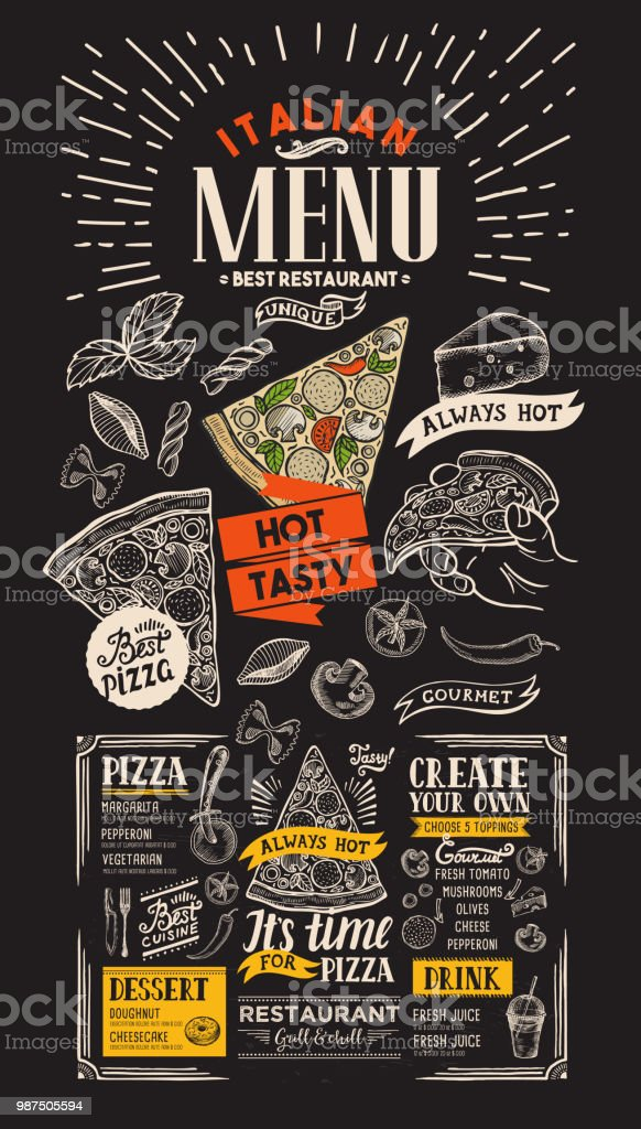 pizza restaurant menu italian food flyer for bar and cafe design