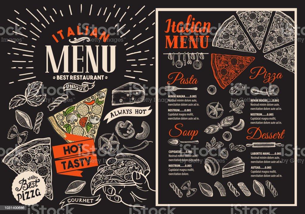 pizza restaurant menu on blackboard vector food flyer for bar and