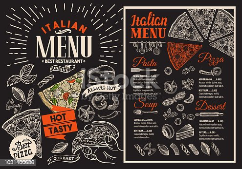istock Pizza restaurant menu on blackboard. Vector food flyer for bar and cafe. Design template with vintage hand-drawn illustrations. 1031400686