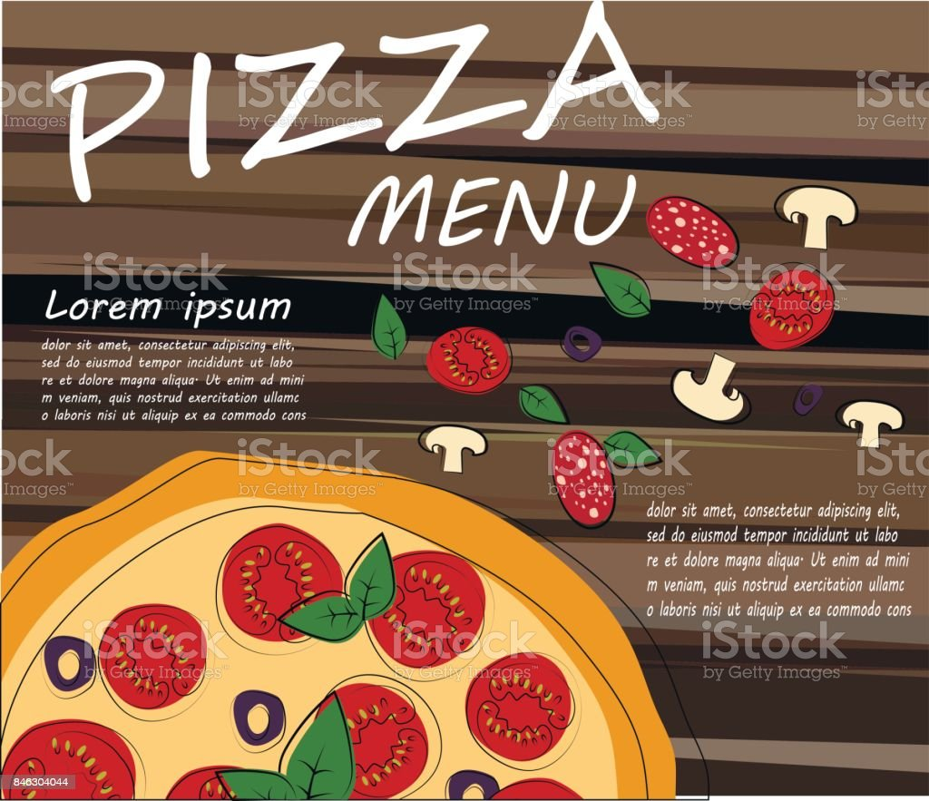 pizza restaurant menu template with ingredients vector stock vector