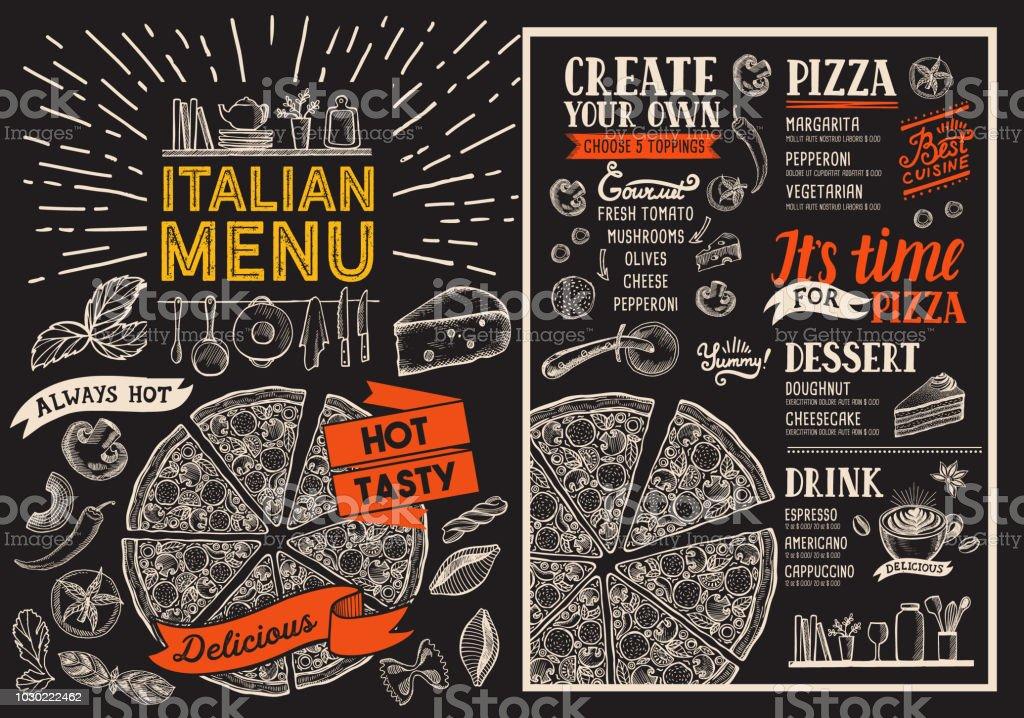 pizza restaurant menu vector food flyer for bar and cafe design
