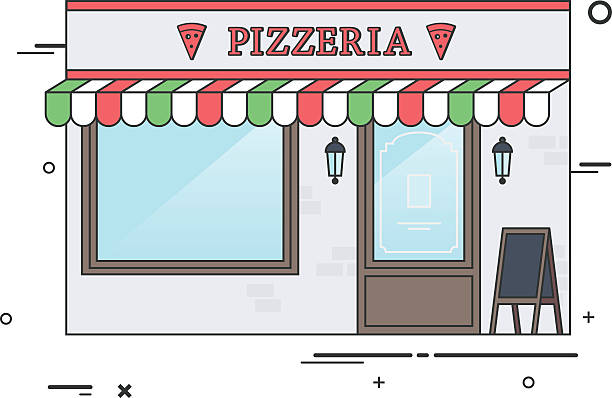 Royalty free italian restaurant interior design cartoon