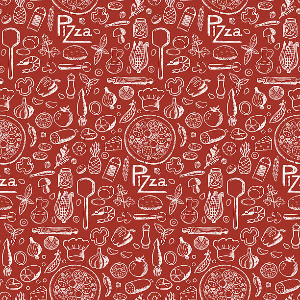 Pizza. Seamless hand drawn doodle pattern vector art illustration