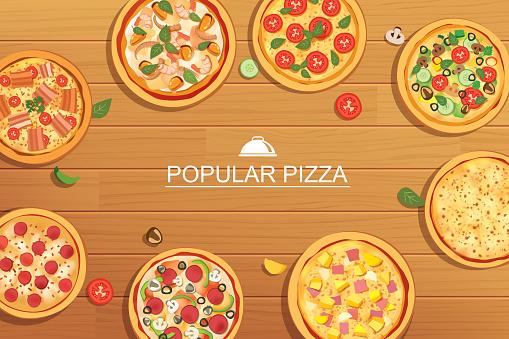 Pizza set different menu on wooden background. Use for design, poster, flyer, banner.