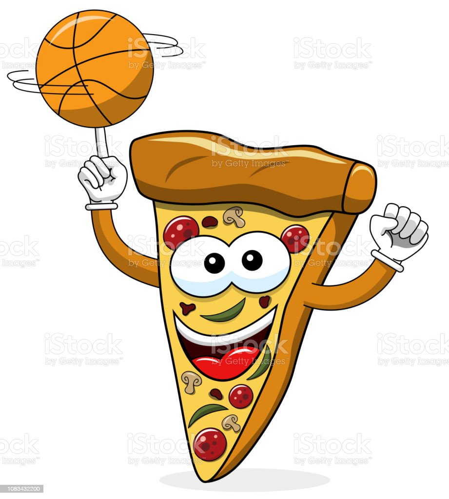 Pizza Slice Cartoon Funny Basketball Isolated Stock Illustration Download Image Now Istock