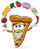 Pizza slice cartoon juggler toppings funny isolated