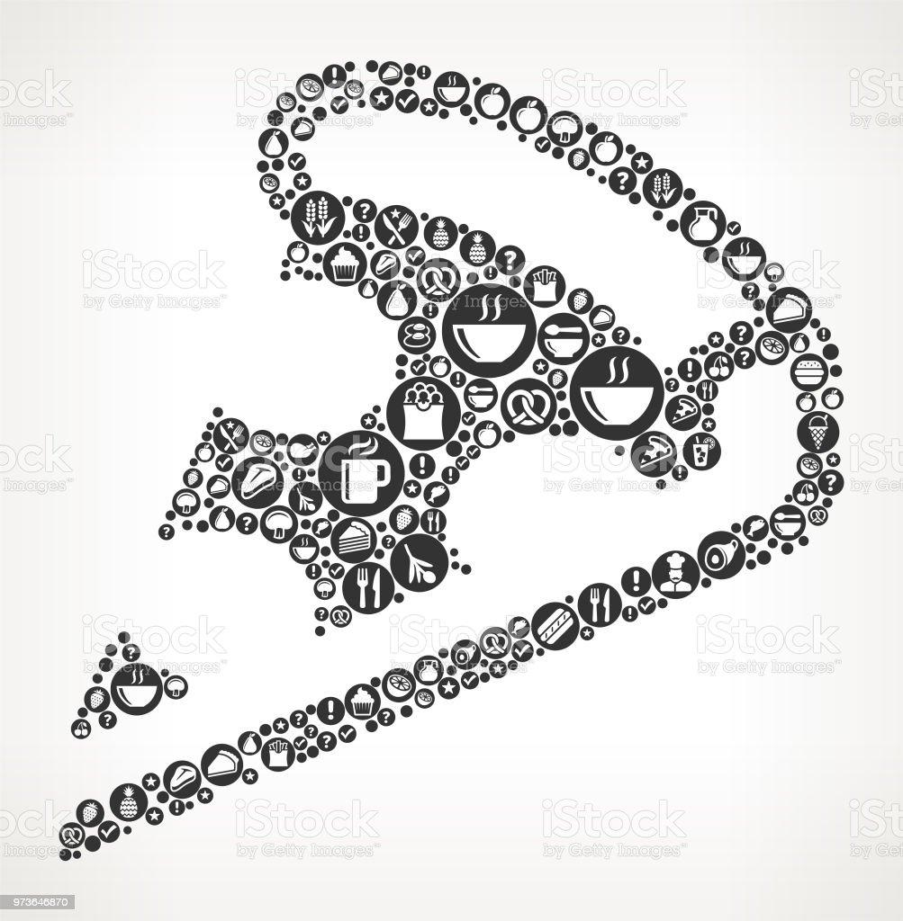 Pizza Slice Essen Schwarzweiß Symbol Hintergrund Stock Vektor Art