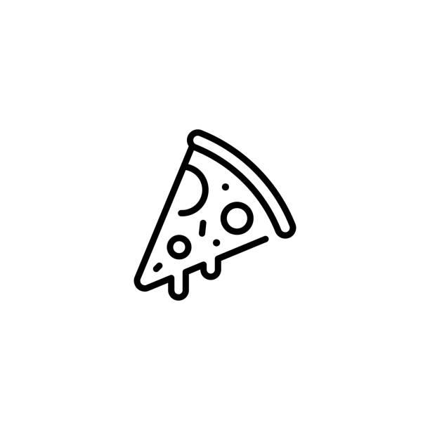 illustrazioni stock, clip art, cartoni animati e icone di tendenza di logo icona cibo fetta di pizza - pizza