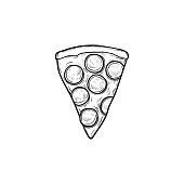 Pizza slice hand drawn outline doodle icon. Vector sketch illustration of italian pizza slice for print, web, mobile and infographics isolated on white background.