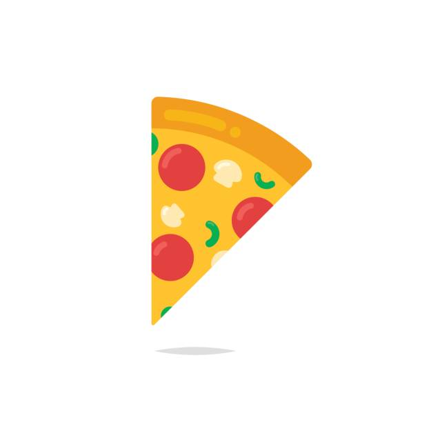 Pizza slice icon vector vector art illustration
