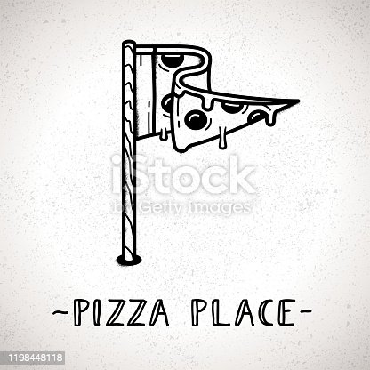 Pizza slice logo pointer with flag design. Pizza place pin on map. Vector hand drawn retro style direction sign